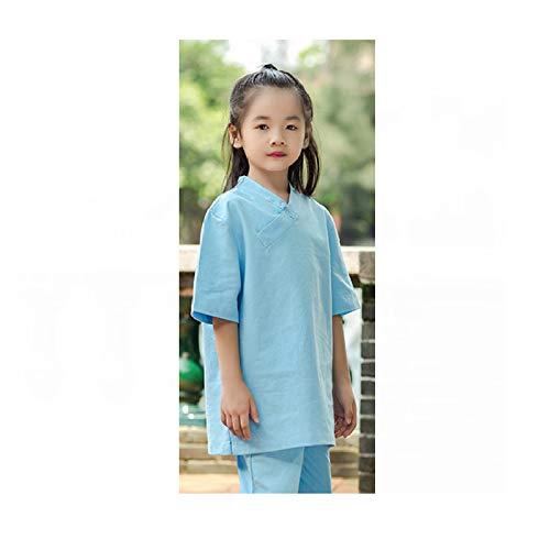 FHKL Baumwolle Und Leinen Kinderpraxis Kleidung Nationalen Wind Martial Arts Tai Chi Kleidung Set Performance Meditationsanzug,Blue-S