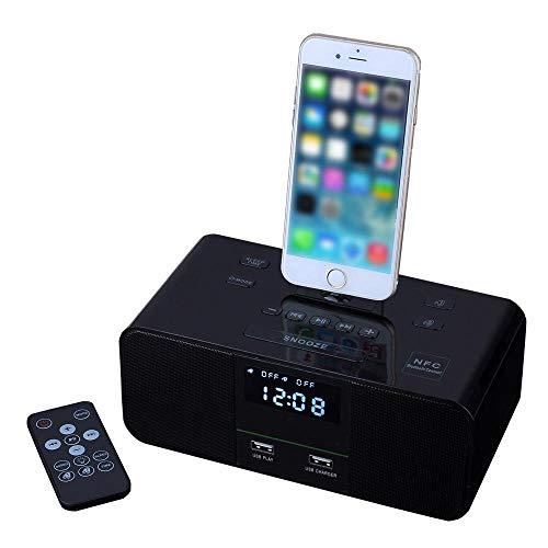 L&Z Docking Station Drahtloser Bluetooth Lautsprecher Doppelter Wecker UKW-Radio Mit Fernbedienung Ladestation Lightning für iPhoneX/8/8 Plus/7 plus/7/6s/6/6/plus/5S/5c