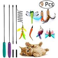 Umiwe Gato Juguete Interactivo Gatitos Varita, 2 Cat Varita Retráctil con 7 Plumas de Ave Libélula Pescado para Gatos y Gatitos (9 PCS)