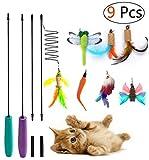 Umiwe Katzen Interaktives Spielzeug, 9 Stück Katzenspielzeug Katze Spielzeug Interaktive Feder Teaser Stab Spielzeug Set mit 7 Nachfüllfedern Catcher für Katzen Kitten (9 Pcs)