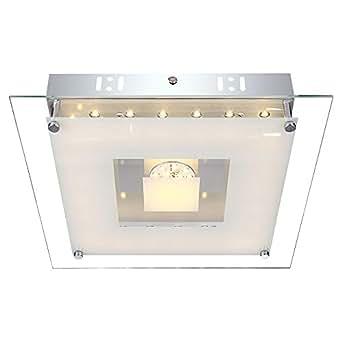 Éclairage plafonnier DEL applique métal blanc chrome plateaux verre opale clair