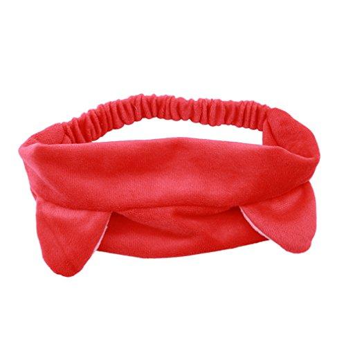 HENGSONG Stirnband Haarband Haarschmuck Haar Wrap mit Katzenohren für Make-up Gesichtsreinigung Gesichtspflege (Rot) (Katze Ohr Haar Clips)
