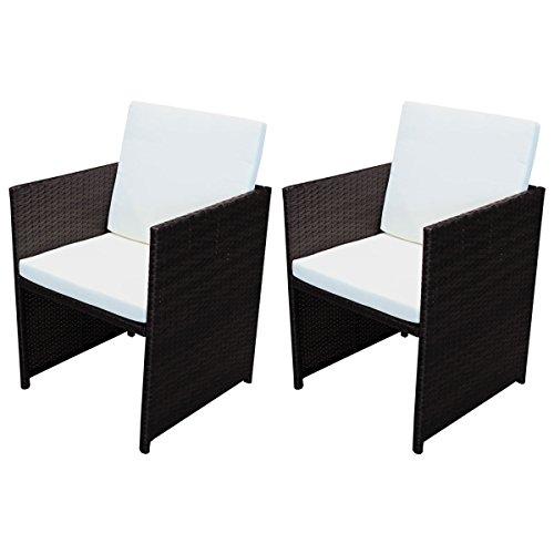 SVITA Poly Rattan Tisch Stühle Gartentisch Rattan-Tisch Esstisch Bistro-Tisch Bistro-Stuhl Braun Set Gartenmöbel (2X Stuhl)
