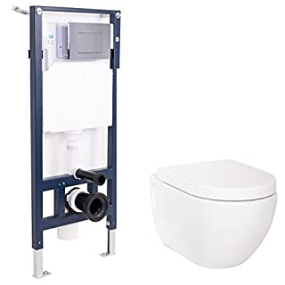 Aquariss Bathroom Wall Mounted WC Toilet with Frame + Concealed Cistern + Soft Close Seat