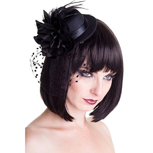 Banned Mini Hut mit Haarspangen - Vintage Black (Hut Bowler Mini)