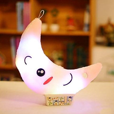 Xshuai 38cm stressentlastendes Licht Nettes Entwurfs-Mond-Glühen LED-Kissen-Licht-weiches Kissen-Geschenk-Zuhause-Plüsch-Kinder (38cm, Rosa)