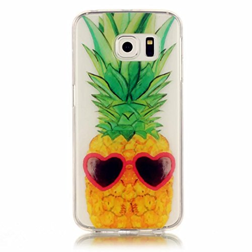 JINCHANGWU Samsung Galaxy S6 Edge handy-gehäuse TPU Silikon Handy Hülle Transparent Schutzhülle Crystal Clear Case Für Scratch-Resistant Bumper Soft Rückseite Cover Tasche Fun Ananas Sonnenbrille (Schokolade Schuhe Jugend)