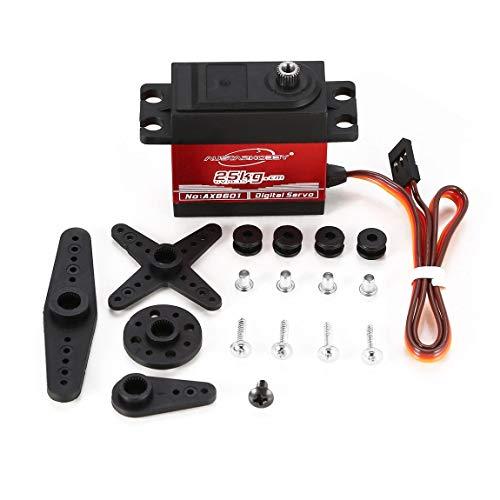 73JohnPol AUSTARHOBBY AX8601 4,8-6,0 V 25 kg 0,15 Sek. / 60 ° wasserdichtes Drehmoment Vollmetallgetriebe Digital-Servo für RC-Car-Zubehör, schwarz