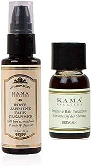 Kama Ayurveda Rose Jasmine Face Cleanser 50ml, Bringadi Intensive Hair Treatment 8ml Combo