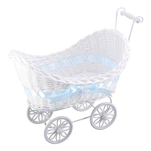 NUOBESTY Wicker Kinderwagen Baby Dusche Hochzeit Herz Kinderwagen Partyartikel (blau)