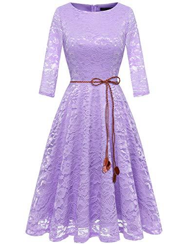 bridesmay Damen Spitzenkleid 3/4 Ärmel Prinzessin Blumen Abendkleid Brautjungfernkleider Lavender 3XL (4 3 ärmel Roben)
