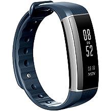 EIVOTOR fitness tracker pulsera Pulsera Inteligente Monitor de pulso cardiaco Bluetooth Pulsera Inteligente Deporte Actividad Tracker con contador de calorias/monitor de sueño/contador de pasos/reloj,IP67 Nivel de Resistente al Agua,Compatible con iOS, Android Smartphone Soporta Llamada Mensaje SIM,Azul