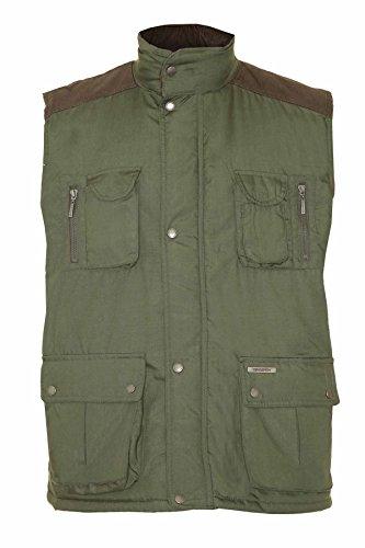Champion Herren Weste Padded Gilet Cord auf den Schultern Durchgehender Front-Reißverschluss Country Kleidung Grün - Olive