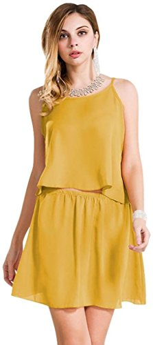 Jeansian Femmes Fashion Robe Sexy Gilet Slim Fit Womens Casual Dress Party Dresses WHS093 yellow