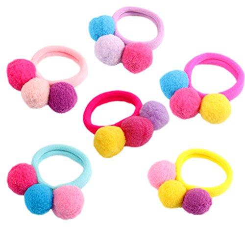 Cosanter 6 Piezas Goma de Pelo Multi Candy Color Lazo de Pelo Elástico Banda de Goma para Bebé Niña de Niños