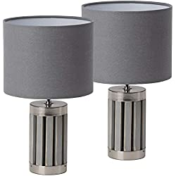 BRUBAKER - Lampe de table/de chevet - Lot de 2 - Design moderne - Hauteur 33 cm - Pied en Bois & Métal/Gris - Abat-jour en Tissu/Gris