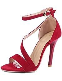 a6bd1cae4 Sandalias Mujer Verano Stiletto Tacón Alto Punta Abierta Correa Del Tobillo  Zapatos De Corte