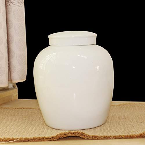 Winpavo Weiße Keramik Urne Runde Porzellan Poesie Asche Altar druckbare Foto, 23 * 19CM