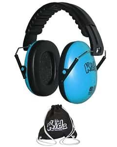 EDZ Kids Casque antibruit ajustable pour enfant (Bleu) Avec sac de rangement