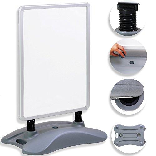 Kesser® Kundenstopper ✓ Plakatständer ✓ Werbetafel ✓ Werbeträger ✓ Gehwegaufsteller | A1 | Standfuß | Farbe: Silber