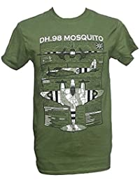 DH.98 Mosquito - British Aircraft / Military T Shirt with blueprint design