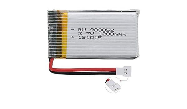 TOOGOO 3.7V 1200Mah 25C Batterie pour X5 X5C X5Sw X5Sc X5S-X5Sc-1 M18 H5P Rc Quadricopt/èRe 1200Mah 903052 Batterie 3.7V pour