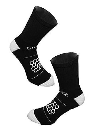 Gosear® Chaussettes de Football Chaussette en Nylon Anti-Dérapant pour Hommes Chaussette Haute Orteil Tube Sock Chaussettes de Sport pour le Football Noir