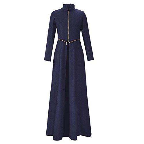 Arrowhunt Damen Cool Lange Reißverschluss Mantel Jacke ( Unterhalb Abnehmbarer ) Blau