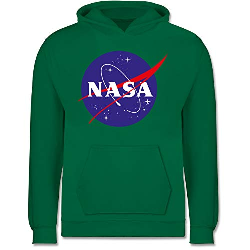 Shirtracer Up to Date Kind - NASA Meatball Logo - 9-11 Jahre (140) - Grün - JH001K - Kinder Hoodie -