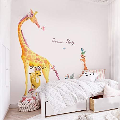 Wald Tier Große Giraffe Elefant Baum Wandaufkleber Kinder Wandtattoo Kindergarten Schlafzimmer Dekor Poster Wandbild Eine Giraffe Und Fuchs ()