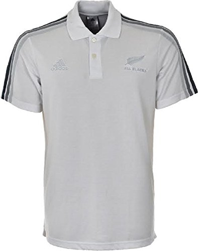 Adidas Herren Rugby Polos Mens All Blacks Polo New Zealand Rugby Shirt 3 Stripe Performance Pique White Sizes S M L XL XXL New F83838 (L) (L/s Stripe Shirt)