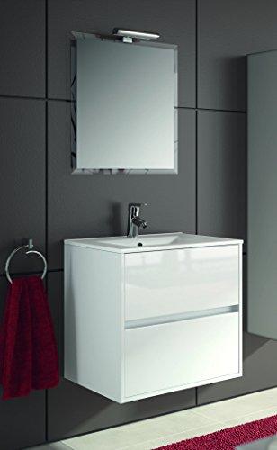 Yellowshop - mobile bagno sospeso in legno cm 70 completo di specchiera lampada led e lavabo in porcellana arredo modello noja 900 varie colorazioni (bianco lucido)