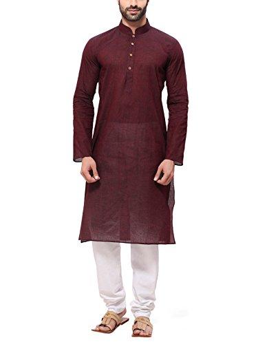 RG Designers Men's Cotton Kurta Pajama Set (HandloomBrownKurta Pajama Set42_Brown_X-Large)