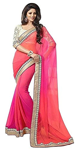 Sarees (Women's Clothing Saree For Women Latest Design Wear Sarees Collection in Pink Coloured Georgette Material Latest Saree With Designer Blouse Free Size Beautiful Bollywood Saree For Women Party Wear Offer Designer Sarees With Blouse Piece)  available at amazon for Rs.399