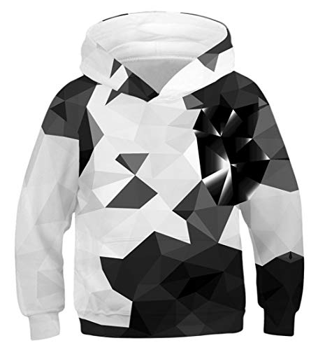 Funnycokid Kinder Sweatshirt 3D Trippy Drucken Loose Diamond Hooded JungenHoodies Blue