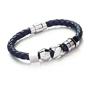 Tribal Steel 20cm Navy Blue Leather Bracelet with Stainless Steel Clasp + 5 Beads