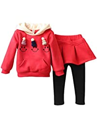 BURFLY for 3-7 Years Baby Girl Dress Skirt Set Outfits Hooded Jumper Sweatshirt with Mini Small Knitted Hat Dress Pants Winter Thick Toddler Baby Kids Girls Clothes Set