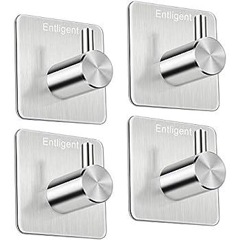 etc Closet Rustproof and Oilproof Waterproof Office Entligent Self Adhesive Hooks, Bathrooms Premium 304 Stainless Steel 3M Adhesive Wall Hanger for Kitchen 4 Pack