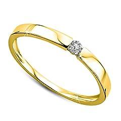 Idea Regalo - Orovi Anello Donna Solitario con Diamante taglio brillante Ct 0.05 in oro Giallo 9 kt 375 Anello Fatto a Mano in Italia