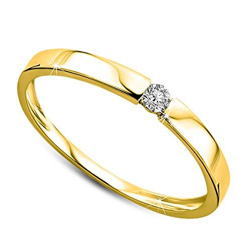 Orovi Ring für Damen Verlobungsring Gold Solitärring Diamantring 9 Karat (375) Brillianten 0.05crt Weißgold oder GelbGold Ring mit Diamanten