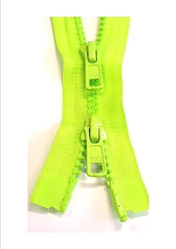 YKK Reißverschluss 2-Wege teilbar Vislon 5mm Krampe 80cm neon-grün Neon-grüner Reißverschluss