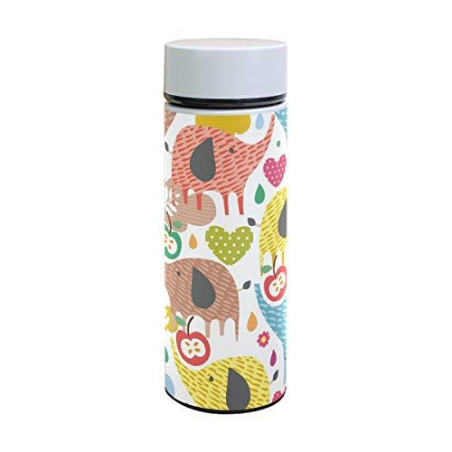 Termo de acero inoxidable con diseño de elefantes coloridos, para niños, 350...