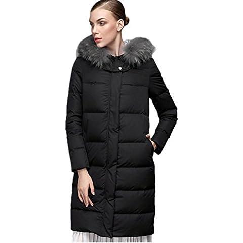 XYXY Cappotti di moda donna con cappuccio inverno giù giacca cappuccio (nero) . black . xxxxl