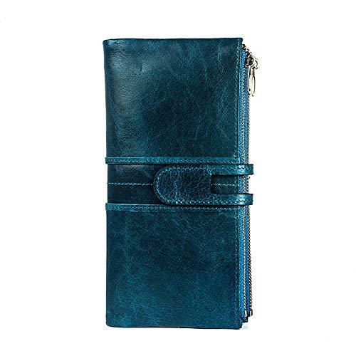 Leder Material Scheckheft Clutch Wallet für Frauen Scheckheft Inhaber mit Reißverschlusstasche Casual Damen Geldbörse (Color : Blue, Size : Free Size) -