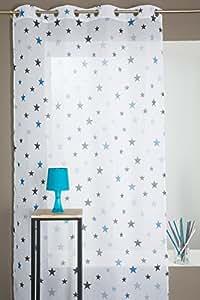 Voilage chambre enfant motif toile bleu for Voilage chambre enfant