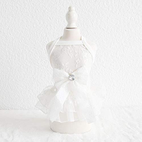 L Pet supplies Haustier Hündchen Brautkleid Teddy Sommerkleid weißes Brautkleid Kleiner Hund Kleid als Bär Spitze Rock Bomei @ White Lace Fairy - Golden Fairy Kostüm