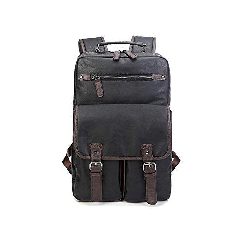 HONEY Rucksack Für Männer Freizeit PU Große Kapazität Computer Tasche Geschäftsreise Schule Besuchen Schwarz (Duffle Zusammenklappbar Bag)