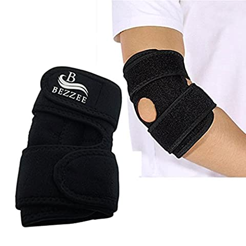 Bezzee Elbow Support Quality Neoprene Tennis Elbow Brace, Easily Adjustable Velcro Straps Bandage Support for Sports injury recovery, Forearm Pain Relief, Swelling,Arthritis,Tendonitis