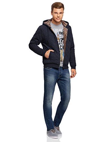 oodji Ultra Homme Veste en Maille à Capuche Bleu (7935B)