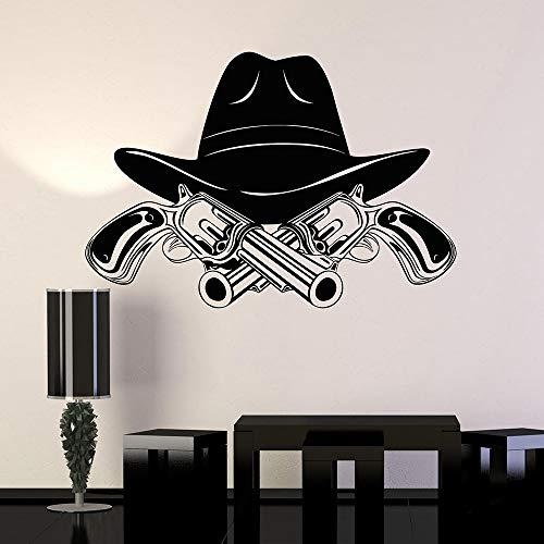 Cowboy Hut Revolver Wild West Wall Decal Home Decor Schlafzimmer Kunst Wandbild Removable Wall Stic 57x83 cm (Katze Hut-kuchen Im)